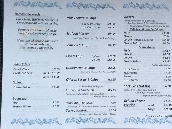 Pictou, แคนาดา: Fougere's Take Out Menu