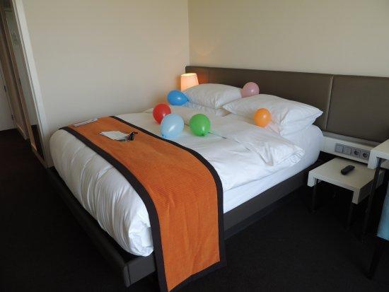 Park Hotel Amsterdam: Arrumaram o quarto com a comemoração do meu aniversario,com bolas ,trufas e cartao voucher parad