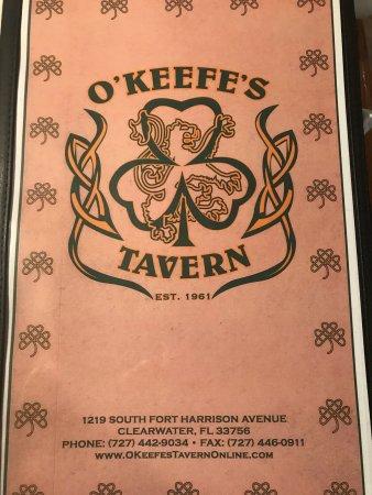 O'Keefe's Tavern & Restaurant: Menu cover