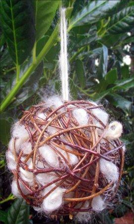 Onancock, VA: Bird nesting ball and rustic holiday ornament