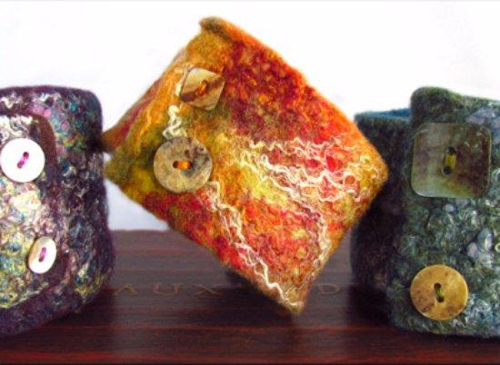 Onancock, VA: Bliss Bangles - hand felted cuff bracelets made from wet felted merino/silk/bamboo