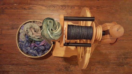 Onancock, VA: Spinning silk/merino in the studio