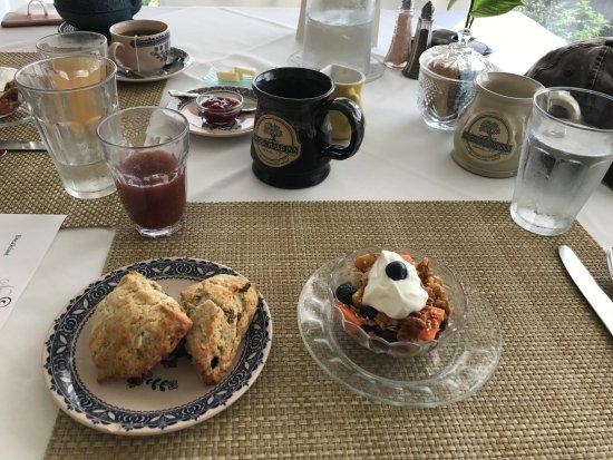 Saluda, Carolina del Norte: Fabulous coffee. Fresh juice. Scrumptious scones. Tasty fruit cup