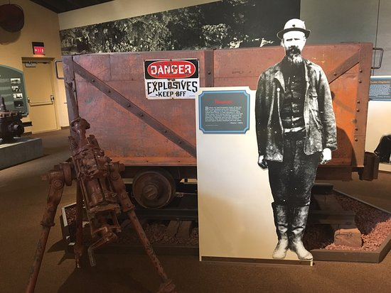 Michigan Iron Industry Museum: exhibit on explosives used in mining
