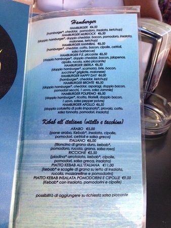 Ispra, إيطاليا: Page from menu
