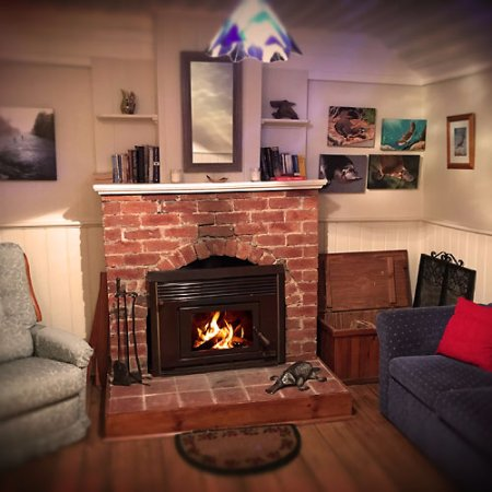 Platypus Riverside Cottage: Lounge with fireplace