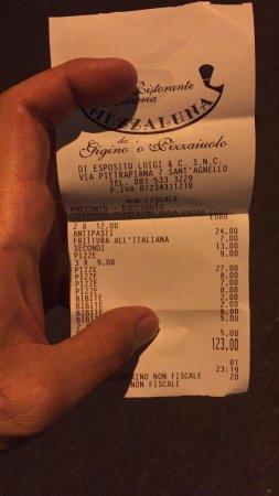 Ristorante Pizzeria Mezzaluna: conto