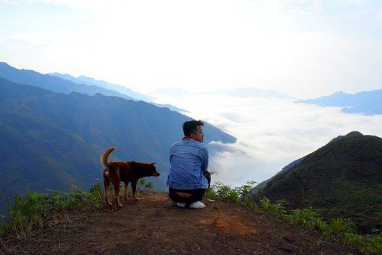 Son La, Vietnam: A view with my four-legged friend.