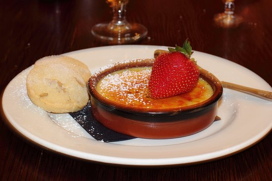 Creme Brulee with walnut shortbread biscuits