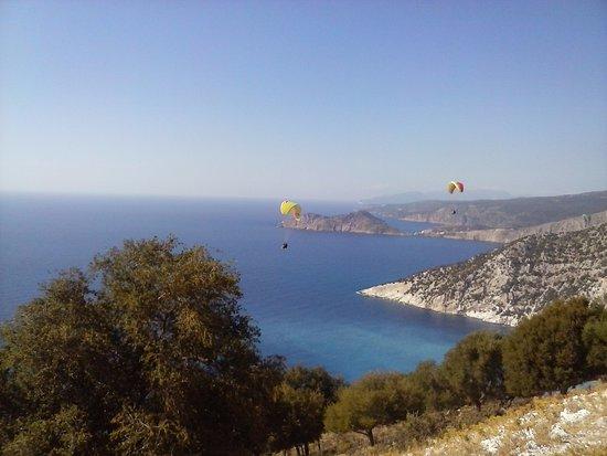 Ionian Islands, Greece: Myrtos beach from the sky