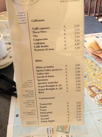 Isola San Giorgio Maggiore, Italy: Price list july 2017