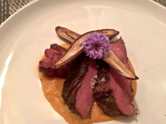 West Dennis, MA: Flatiron steak with braised applewood smoked bacon, Yamato roasted toy box eggplant, and Vermont