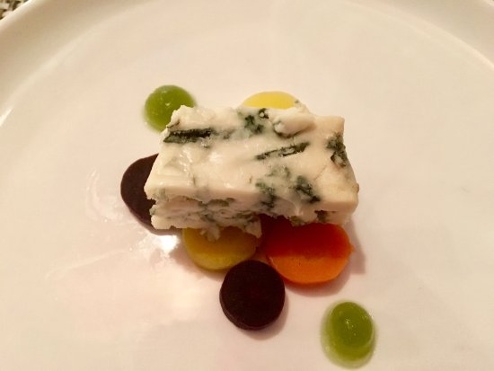 West Dennis, MA: Arethusa Farm in Litchfield, CT blue cheese with dill poached carrot coins and dill gelee.