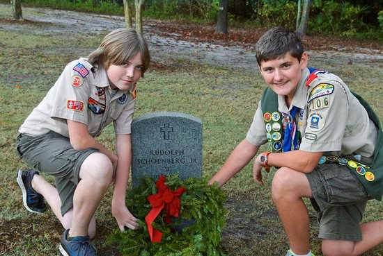 Columbia Falls, ME: Boy Scouts who were assigned to put wreath on my father's grave in Florida, love getting these p