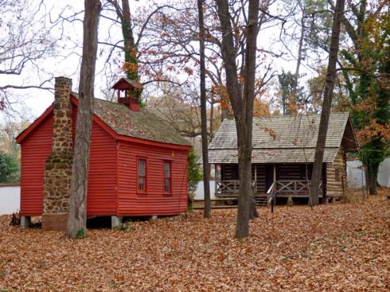 Aiken, SC: 19th century school house and the Ergle Log Cabin