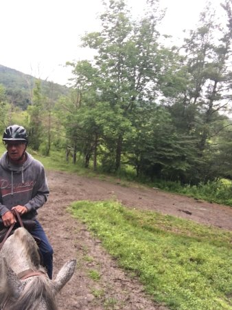 Jeffersonville, VT: Wonderful early morning ride through an occasional light rain - wild turkeys and deer.   Led by