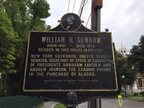 Seward House Museum: Historic plaque marking Seward House