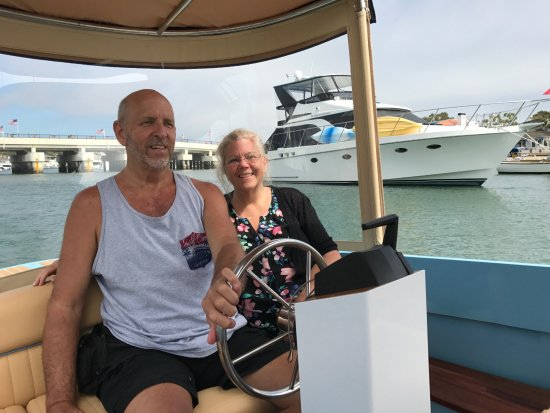 Newport Beach, CA: Piloting the Electric boat in Newport Harbor