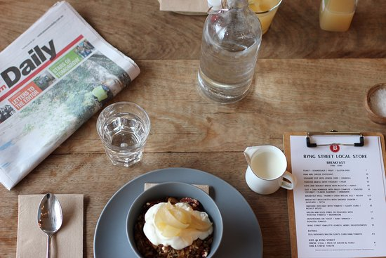 Orange, Australia: House made muesli and the local rag is a great way to start the day at Byng Street Local Store..
