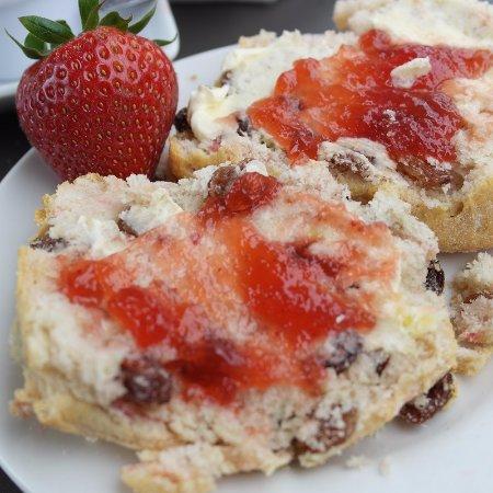 Burscough, UK: fresh scone with jam