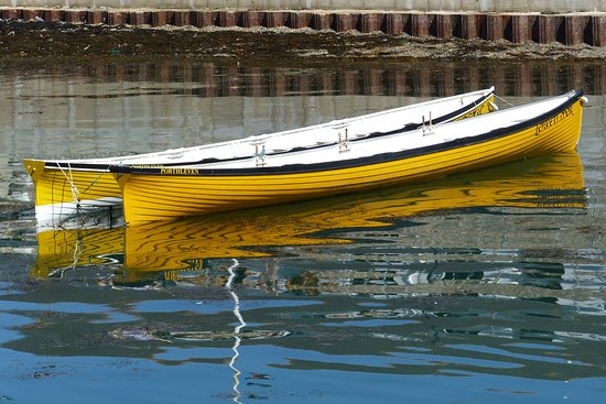 Traditional Cornish rowing boats in Porthleven harbour