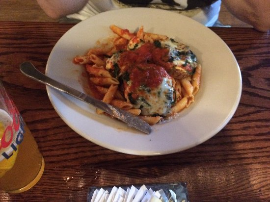 Woodbury, CT: Eggplant (Parm) Tower on a mound of Baked Ziti!
