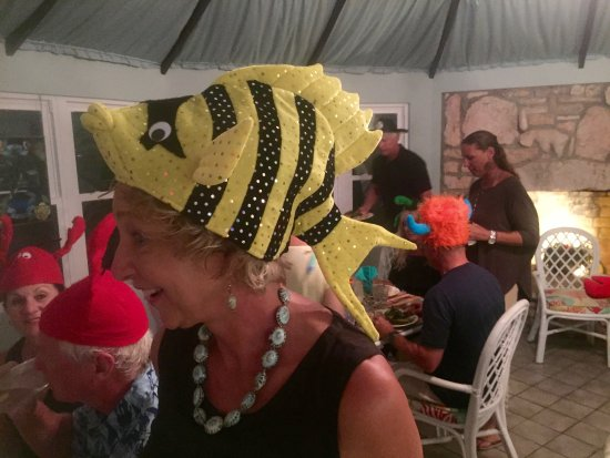 Pirates Point Resort: Crazy hat parties are a tradition if someone is celebrating a birthday-that's me in the fish hat