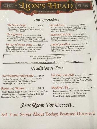 Lion's Head Inn & Restaurant: Our menu page 2