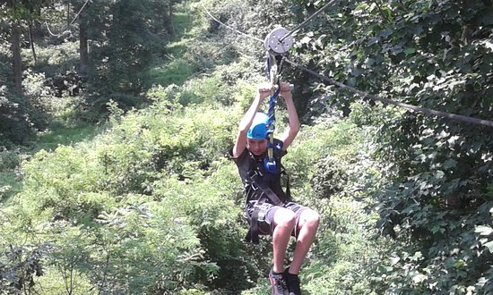 Stevens, PA: 13-year old grandson zipling for the 1st time!