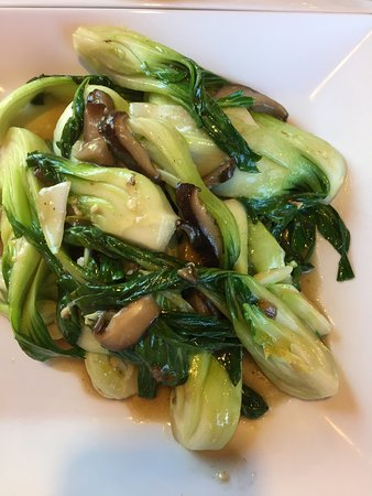 Meridian, ID: Bok choy with mushrooms, chow mein, chicken kung pao