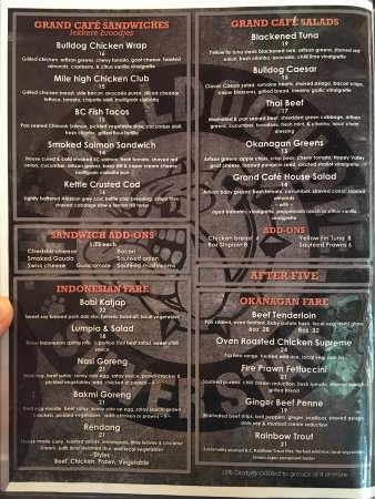 Silver Star, Kanada: Menu as of 7/25/17