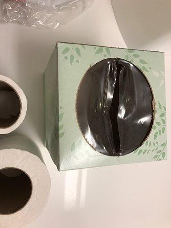 Emporia, Wirginia: Construction dirt, empty tissue box, almost empty toilet paper rolls, inadequate bathroom spigot