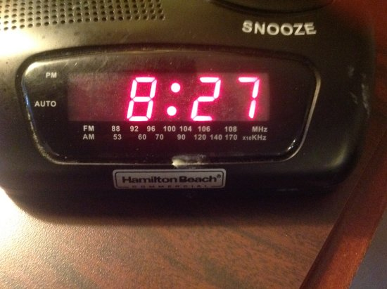 The Freeport Inn and Marina: Spit or food on in room radio