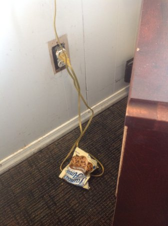 The Freeport Inn and Marina: Previous guest trash behind nightstand, unsafe electrical outlet.