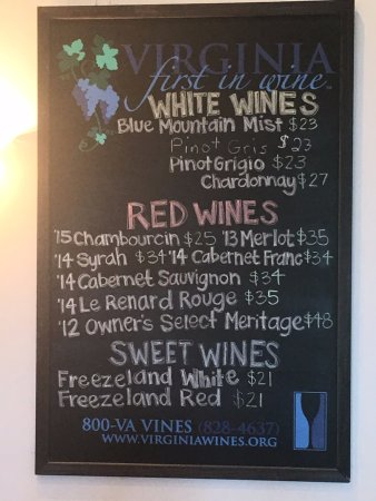 Linden, VA: Chalkboard with Wine List