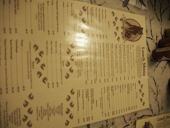 Brown Bear Cafe: Menu