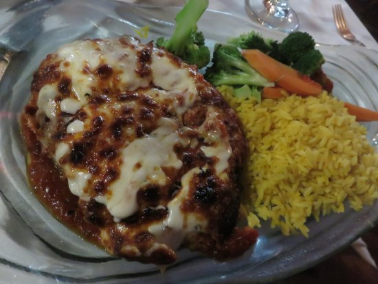 Rutherford, NJ: Parmesan chicken with yellow rice and steamed veggies
