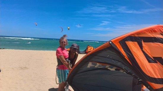 Seabreeze Kite Club: Joanna and Sadam our lovely beach boy.