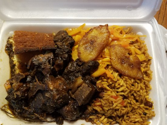 Hightstown, NJ: Oxtails, rice, cabbage, plantains & cornbread. Lunch portion.