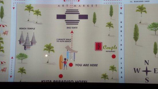 Kuta Paradiso Hotel: Map to go to the beach