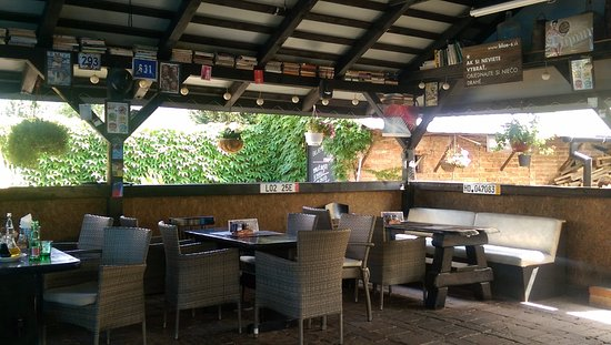 Terrace at the back of the restaurant