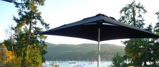 برينتوود باي ريزورت آند سبا: patio with view of Brentwood Bay and yachts