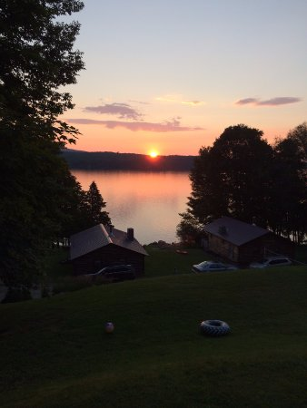 Westmore, VT: Sunset view from porch of cabin #7