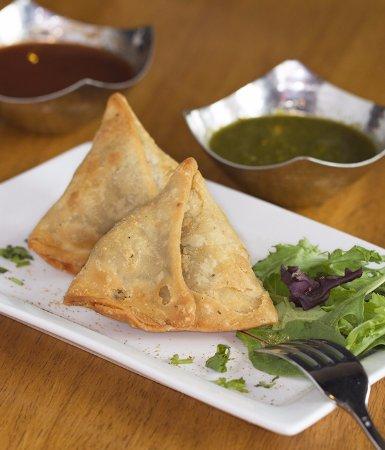 Tewksbury, MA: Veg or Chicken Samosa are flakey, crispy and full of flavor