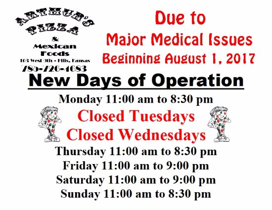 Ellis, KS: New Days of Operation - Closed Tuesdays & Wednesdays