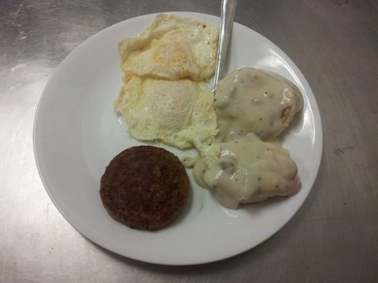 Cotter, AR: Single biscuit and gravy, eggs and sausage patty.