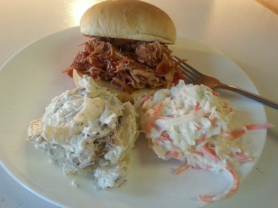 Cotter, AR : Pulled Pork Sandwich with 2 sides.