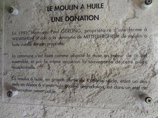 Mittelbergheim - Moulin à huile (plaque donation)