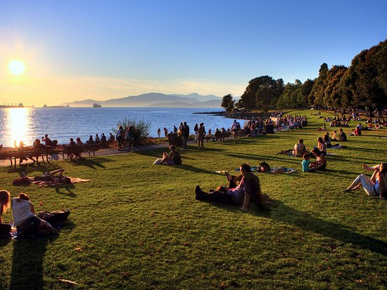 Vancouver Canada English Bay Beach At Sunset