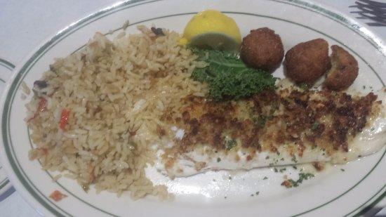 Addison, TX: Halilbut, rice pilaf and hushpuppies